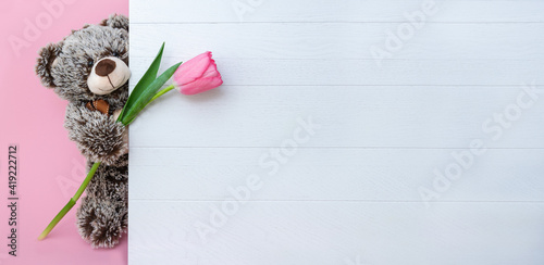 teddy bear with flower banner birthday greetings promotion 8 march inscription place for text pink advertising