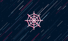 Large White Spider Web Symbol Framed In Red In The Center. The Effect Of Flying Through The Stars. Seamless Vector Illustration On A Dark Blue Background With Stars And Slanted Lines