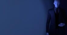 暗い部屋にスーツ姿の男性マネキン 3DCG