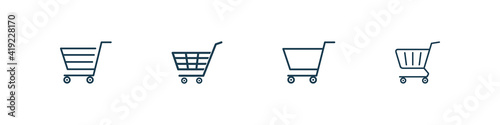 vector set of shopping cart icons on background Fotobehang