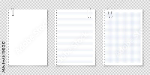 Obraz Realistic blank paper sheets in A4 format with metal clip, holder on transparent background. Notebook page, document. Design template or mockup. Vector illustration. - fototapety do salonu