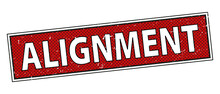 Alignment Sign. Round Ribbon Label Red. Stamp