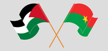 Crossed And Waving Flags Of Palestine And Burkina Faso