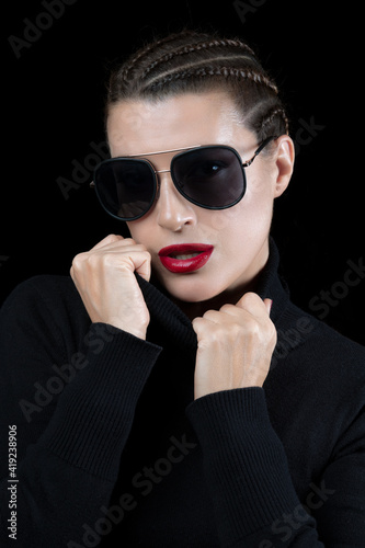 Fototapety, obrazy: Beautiful woman with braided hair wearing sunglasses or shades in a fashion and beauty portrait