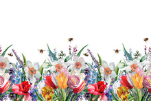 Coupon Seamless Pattern Of Wild Flowers Tulips, Daffodil, Poppy, Cornflower With Buds, Leaves And Flying Bees. Hand-drawn Watercolor Painting On White Background For Textiles, Fabrics, Prints.