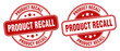 product recall stamp. product recall label. round grunge sign