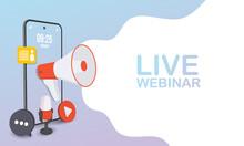 Live Webinar For Concept Design. Digital Banner. Virtual Concept. Video Play Button Symbol. Vector Stock Illustration.