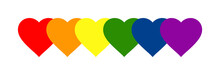 LGBT Pride Banner. Vector Illustration Of Hearts In LGBTQ  Pride Flat Colours. Rainbow Hearts Banner For Pride Month 2021. Gay Pride Hearts Design Element