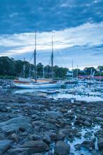 USA, Maine, Camden. Camden Harbor With Schooners At Dawn.