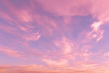Dramatic Sunrise, Sunset Pink Violet Blue Sky With Cirrus Clouds Abstract Background Texture