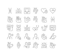 Set Of Linear Icons Of Cardiology