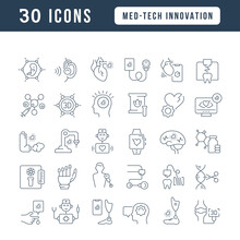 Set Of Linear Icons Of Med-Tech Innovation
