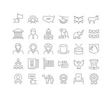 Set Of Linear Icons Of Presidents Day