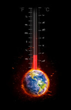 Temperature Rising On Global Warming Thermometer