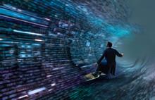 Businessman Surfing Binary Code Wave