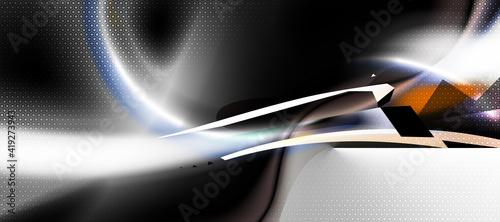Dark, white tech composition, minimal technology business shapes Fototapet
