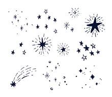 手描き シンプルでお洒落な星の装飾イラスト