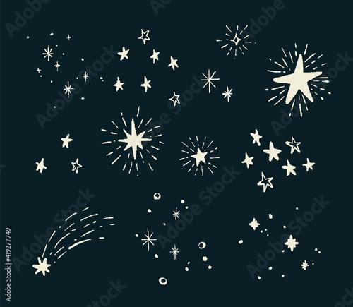 Obraz 手描き シンプルでお洒落な星の装飾イラスト - fototapety do salonu