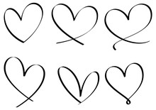 Set Of Heart Hand Drawn Isolated