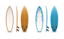 Realistic Surfboards Set. Sea Extreme Sport. 3d Vector Illustration