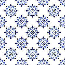 Ceramic Tile Pattern, Colorful Seamless Floral Background, Blue And White Decorative Wallpaper Decor, Portugal Ornament, Moroccan Mosaic, Pottery Folk Print, Spanish Tableware, Vintage Tiles Design