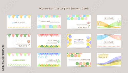 watercolor vector cute business cards - fototapety na wymiar