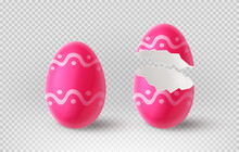 Pink Cracked Egg Isolated On Checkered Background. Realistic Egg Shells. Vector Illustration With 3d Decorative Object For Easter Design.