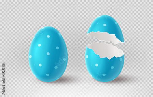 Obraz na plátne Blue cracked egg isolated on checkered background