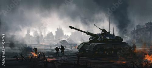 Obraz na plátně Cruel war scenes, digital painting.