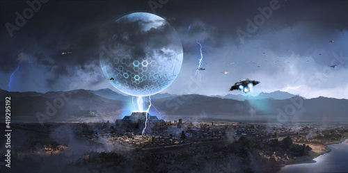 Obraz na plátně Alien spacecraft appeared over ancient cities,Science fiction illustration