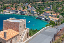 Panoramic View Of  Limeni Village. The Picturesque  Villlage With The Turquoise Waters And The Stone Buildings Under Areopoli, Peloponnese , Greece.