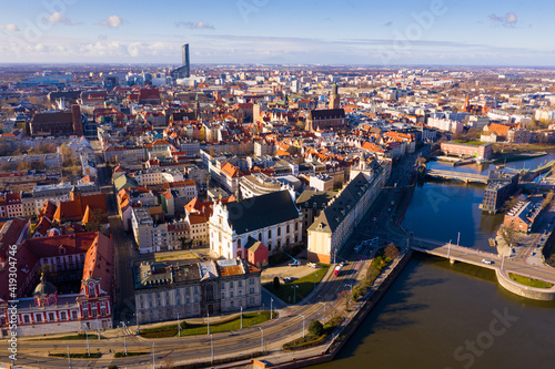 Obraz Aerial view on the city Wroclaw and Market square. Poland - fototapety do salonu