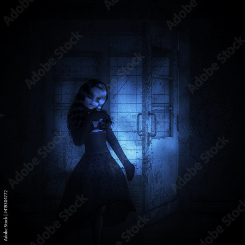 Tablou Canvas 3d door and witch in old building