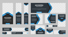 Set Of Modern Web Banners Of Standard Size With A Place For Photos. Vertical, Horizontal And Square Template. Vector EPS
