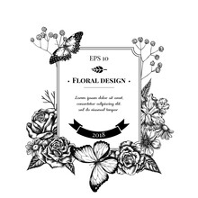 Badge Design With Black And White Iris Japonica, Gypsophila, Chamomile, Almond, Menelaus Blue Morpho, Red Lacewing, Roses