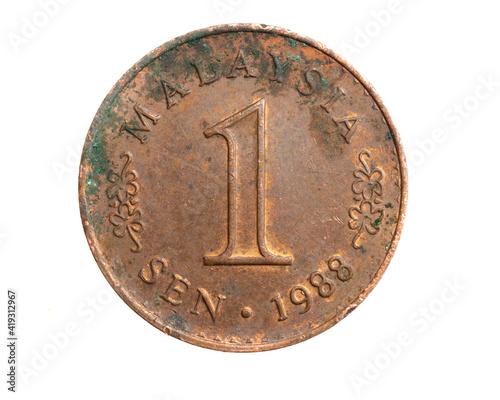 Fototapeta Malaysia one  sen coin on a white isolated background obraz