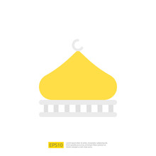 Mosque Icon For Muslim And Ramadan Theme Concept. Vector Illustration