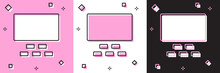 Set Cinema Auditorium With Screen And Seats Icon Isolated On Pink And White, Black Background. Vector.