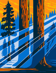 WPA poster art of the Giant Sequoia National Monument located in the southern Sierra Nevada in eastern central California USA done in works project administration or federal art project style.