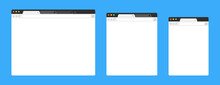 Browser Mockups On Blue Background. Design A Simple Blank Web Page. Template Browser Window On Compute, Tablet And Smartphone. Vector Set.