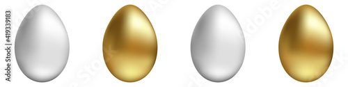 Foto Vector set of gold and silver eggs on an isolated background