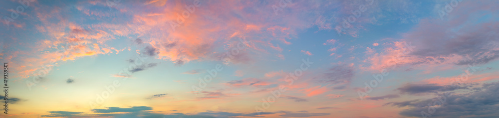 Fototapeta Huge Panorama of  Sunset  Sunrise Sundown Sky with colorful clouds