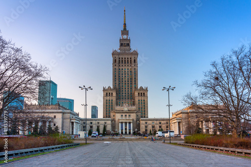 Obraz Architecture of Warsaw with the Palace of the Culture and Science, Poland. - fototapety do salonu