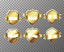 Gold Banner Ribbons. Retro Vintage Golden Badges And Labels Collection. Vector Illustration EPS10