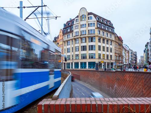 Obraz Tram on the city streets, big city transportation - fototapety do salonu