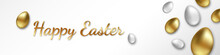 Happy Easter Festive Banner With Handwritten Easter Greetings And Easter Eggs In Gold And Silver Color On A White Background. Stock Illustration EPS 10