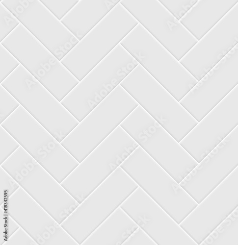 Fototapeta White ceramic tile herringbone seamless pattern