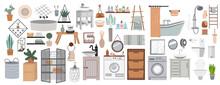 Bathroom Cartoon Elements. Bathroom Interior Furniture And Hygiene Accessories. Modern Bathroom Interior Decor. Flat Vector Illustration Isolated On White Background.