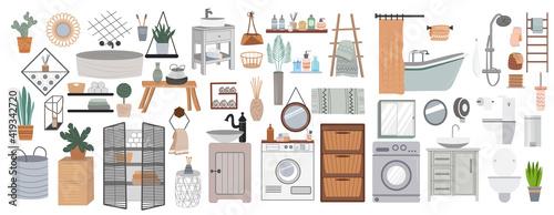 Fotografiet Bathroom cartoon elements