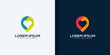 Creative love location logo design concept line art style. combine heart, pin, map and people logo design vector